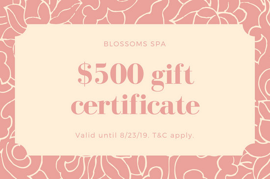 Pink and cream massage gift certificate templates by canva yadclub Images