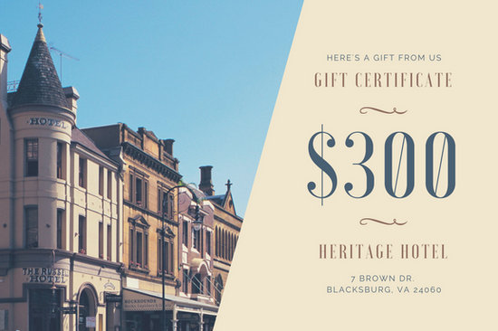 Cream and Brown Photo Hotel Gift Certificate