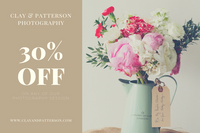 Brown Flower Vase Photography Gift Certificate