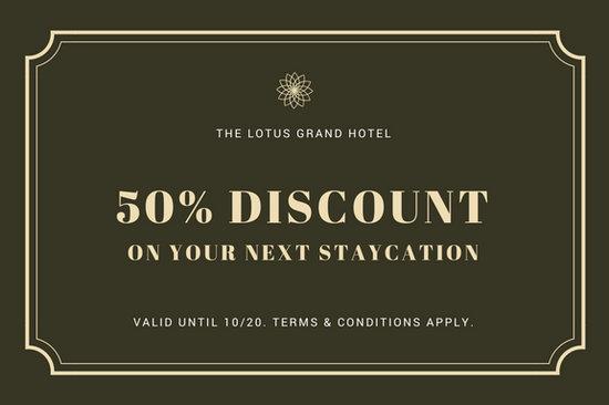 Dark Olive Green Lotus Hotel Gift Certificate
