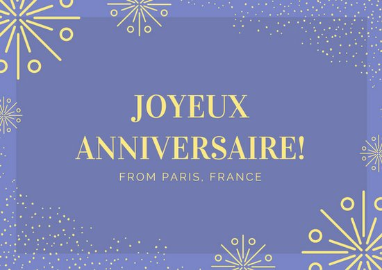 Blue and Yellow Fireworks Birthday French Postcard