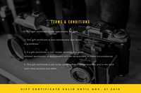 Yellow Black and White Camera Photography Gift Certificate