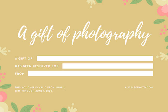 Gold Floral Baby Birth Photography Gift Certificate  Templates By Canva