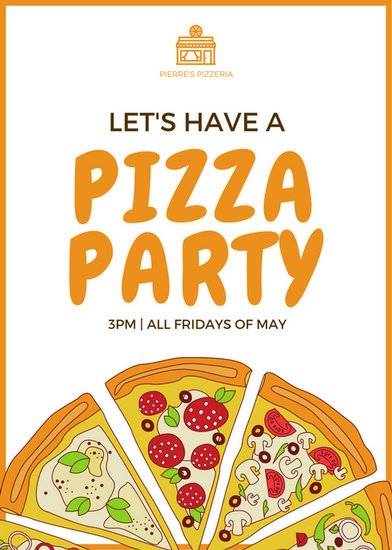 orange pizza party flyer templates by canva. Black Bedroom Furniture Sets. Home Design Ideas