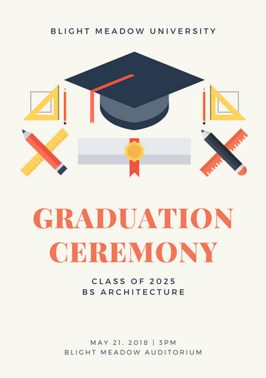 cream illustrated graduation event program