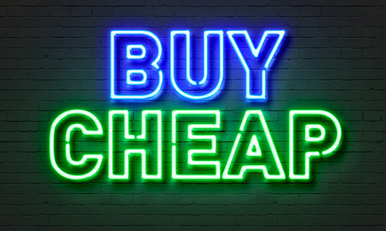 Buy Cheap Neon Sign on Brick Wall Background.