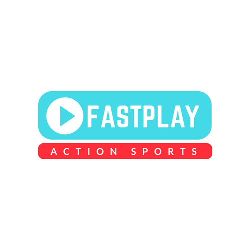 Teal With Play Button Sports Logo