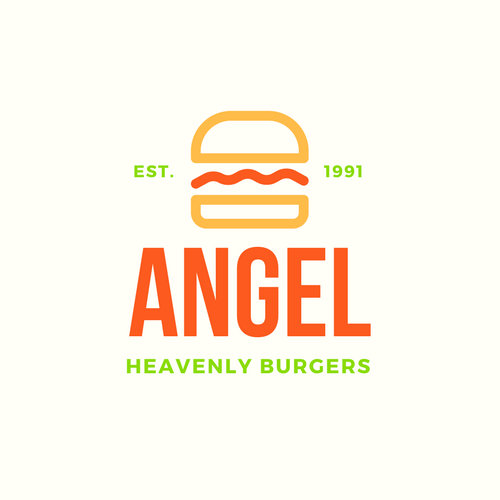 Green and Orange Fast Food Angel Heavenly Burgers Restaurant Logo