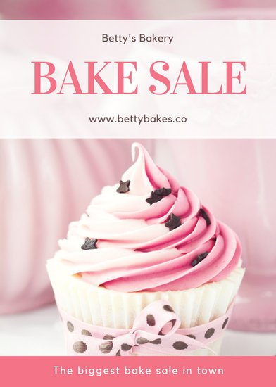 Pink Cupcake Photo Bake Sale Flyer  Templates By Canva