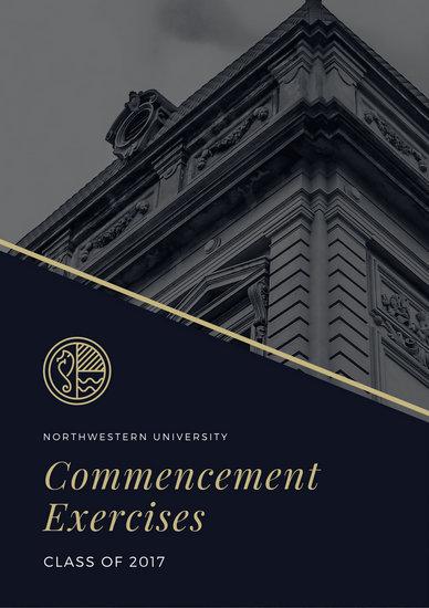 gold and blue elegant graduation program