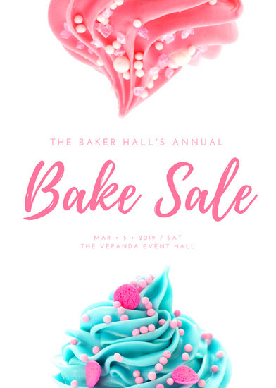Pink  White Cute Feminine Bake Sale Flyer  Templates By Canva