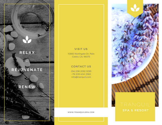 Yellow  White Elegant Modern Spa Trifold Brochure  Templates By Canva