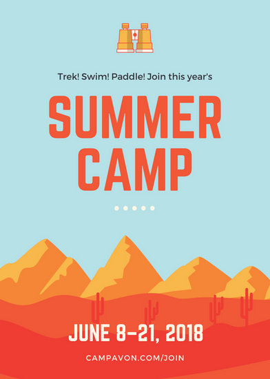 blue and orange mountains summer camp flyer templates by