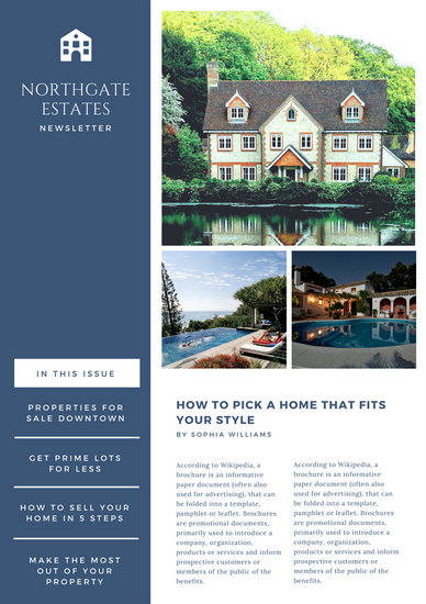 Dark Blue  White Simple Corporate Modern Real Estate Newsletter