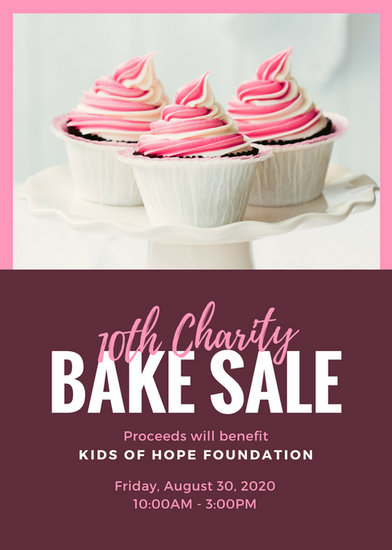 Pink Fuchsia Cupcake Photo Bake Sale Flyer  Templates By Canva