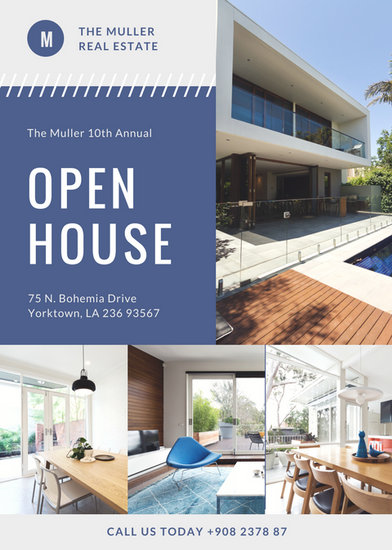 Blue Photo Modern Open House Flyer - Templates by Canva