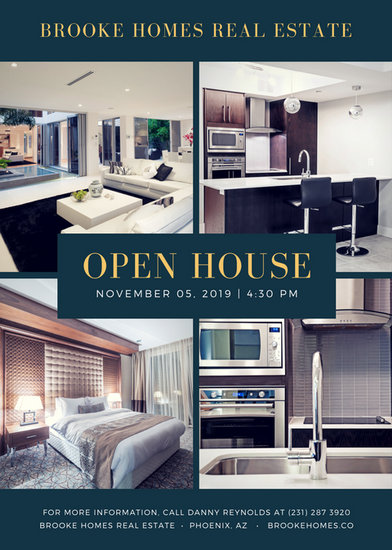 Emerald Green Gold Interior Open House Flyer  Templates By Canva