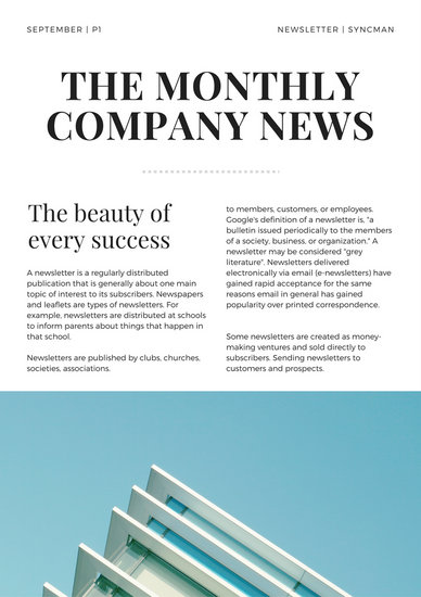 Skyblue Buildings Company Newsletter  Templates By Canva