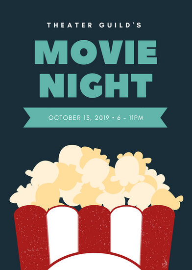dark blue with popcorn graphic movie night flyer