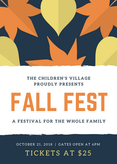 Blue Yellow And Orange Leaves Fall Festival Flyer  Templates By Canva