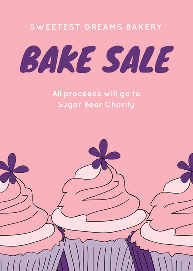 Pink And Purple Cupcakes Bake Sale Flyer  Templates By Canva