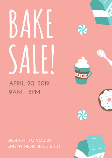 Pink And Turquoise Illustrated Bake Sale Flyer  Templates By Canva