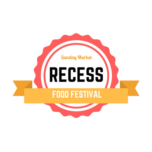 White, Red and Orange Badge Recess Food Festival Logo