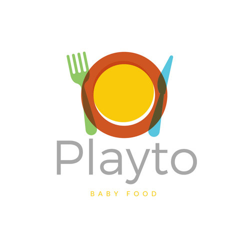 Colorful Utensils Playto Baby Food Logo
