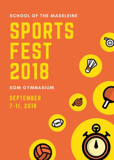 orange and yellow icons sports flyer