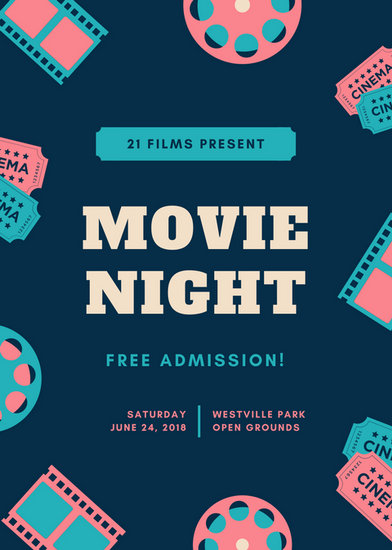 Pink Aqua  Blue Illustrated Movie Night Flyer  Templates By Canva