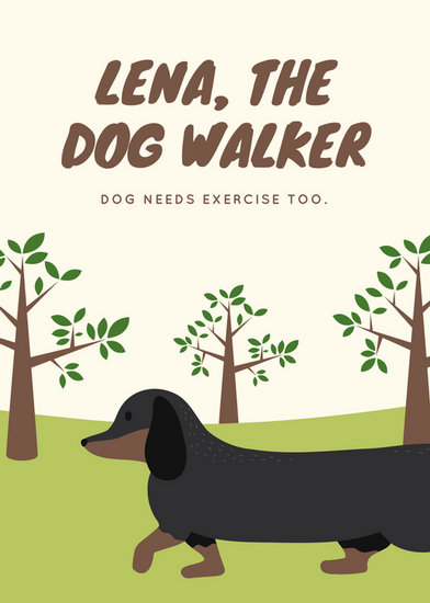 Cream And Green Trees Dog Walker Flyer Templates By Canva