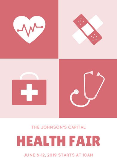 Red Illustration Health Fair Flyer Templates By Canva