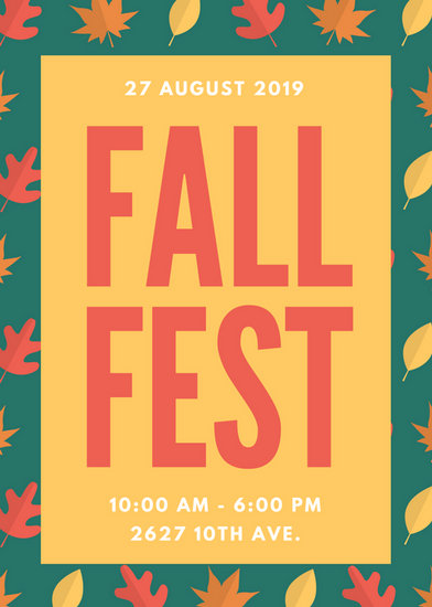 Teal Yellow And Red Autumn Leaves Pattern Fall Festival Flyer