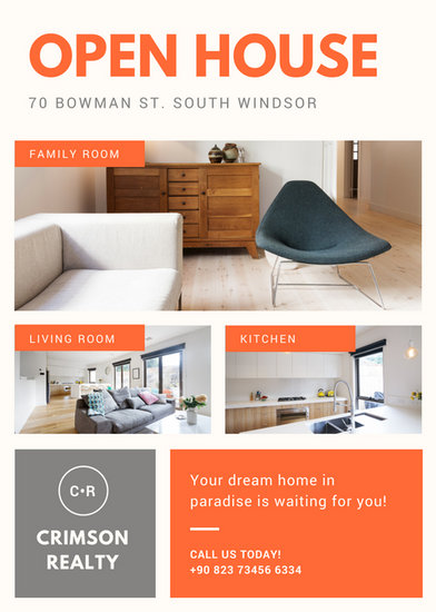 Orange Photo Collage Modern Open House Flyer  Templates By Canva