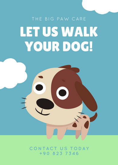 blue green cute illustrated dog walker flyer