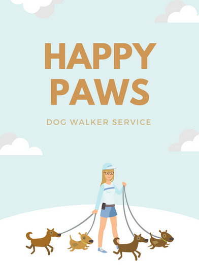 Dog Walker Flyer Template Doritrcatodos