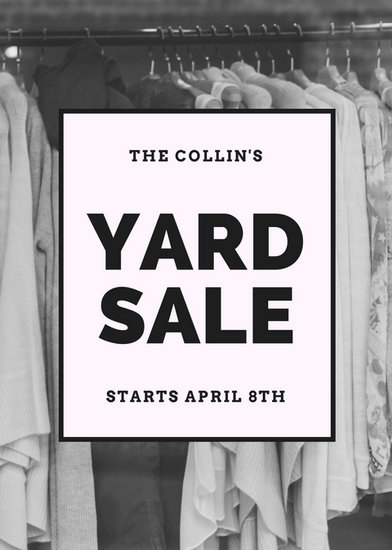 Black And White Image Yard Sale Yard Garage Flyer  Templates By Canva