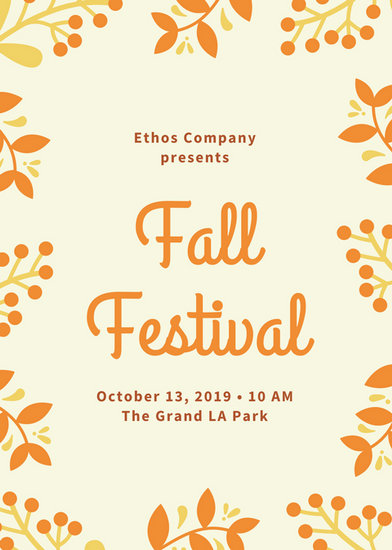 Cream And Orange Foliage Border Fall Festival Flyer