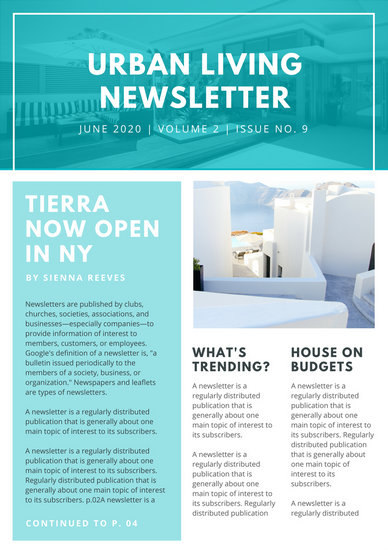 Aquamarine Bordered Real Estate Newsletter  Templates By Canva