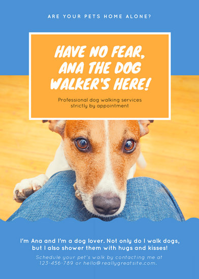 Blue And Orange Photo Dog Walker Flyer Templates By Canva