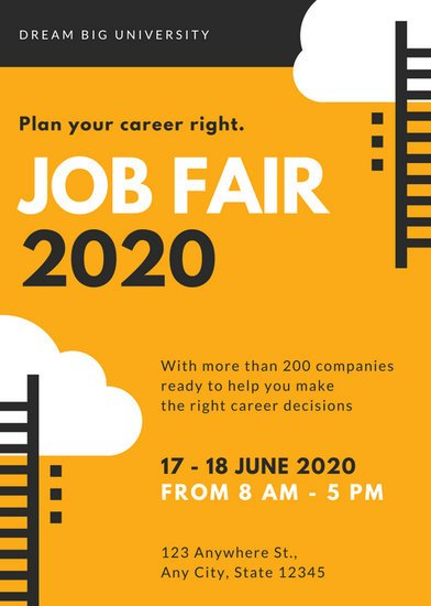 orange and black vector job fair flyer