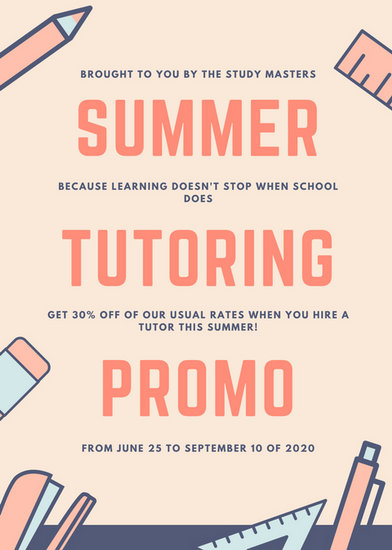 orange blue and cream summer tutor flyer templates by canva