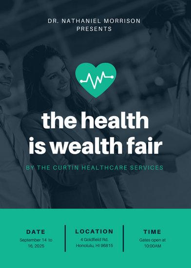 Dark Blue Photo Medical Health Fair Flyer Templates By Canva