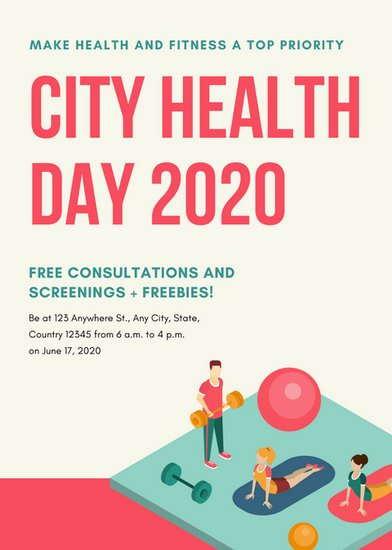 Colorful Illustrated Health Fair Flyer Templates By Canva