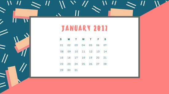 Red And Blue Patterned Birthday Calendar  Templates By Canva