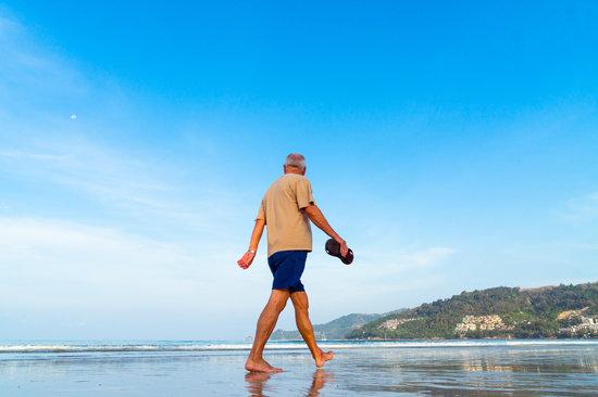 Beach, Senior, Man, Male, Walking, Retired, Sea, Shore