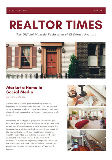 Burgundy And White Real Estate Newsletter  Templates By Canva