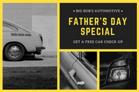 Yellow Grey Photo Collage Car Father's Day Gift Certificate