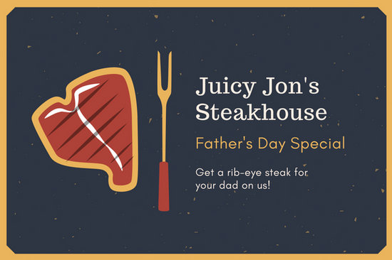 Dark Blue and Mustard Steakhouse Father's Day Gift Certificate