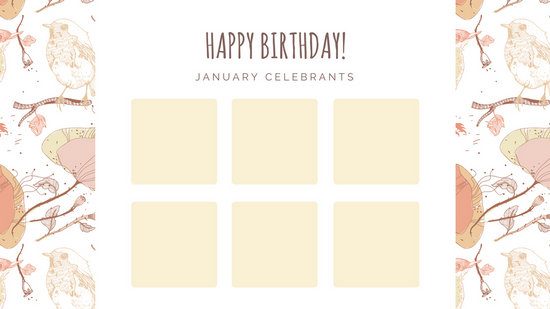 Pastel Illustrated Flowers And Animals Birthday Calendar  Templates
